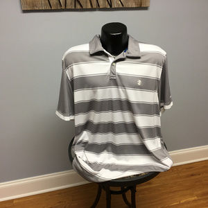 Gray / White Stripe IZOD Golf Polo Shirt